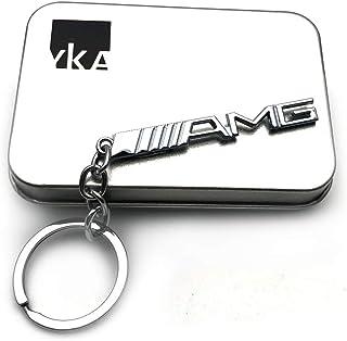 YIKA Schlüsselanhänger/Schlüsselring AMG Mercedes Benz 3D Logo aus Edelstahl (Silberfarben)