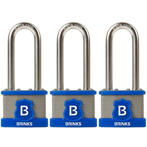 BRINKS Home Security 677-44302 44mm Commercial Laminated Steel Padlock, 3...