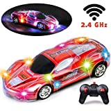 Haktoys RC Racing Sports Car, Upgraded 2.4GHz Light Up 1:24 Scale Radio Remote Control Vehicle with Dazzling Flashing LED Lights | Safe and Durable | Gift, Toy for Kids, Boys and Girls (Red Color)