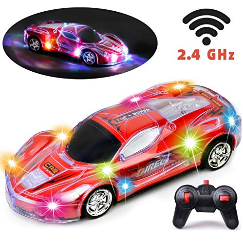 Haktoys RC Racing Sports Car, Upgraded 2.4GHz Light Up 1:24 Scale Radio Remote Control Vehicle with Dazzling Flashing LED Lights   Safe and Durable   Gift, Toy for Kids, Boys and Girls (Red Color)
