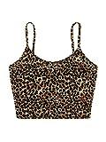 SheIn Women's Sexy Spaghetti Strap Sleeveless Leopard Print Velvet Crop Cami Tank Top Light Leopard Large