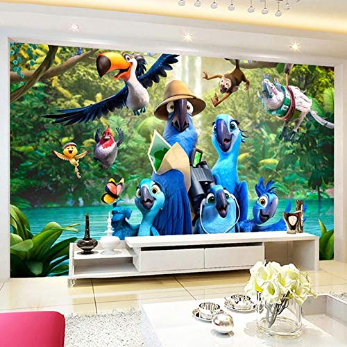 Mural Non Woven 3D Effect Wallpaper 200 * 150Cm Cartoon Forest Animal Blue Parrot Self-Adhesive 3D Wall Stickers for Girls Room Wall Decal Poster Picture Holiday Gift Decoration