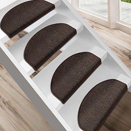 Floordirekt Stufenmatten London   Halbrund oder Eckig   Treppenmatten in 11 Farben   Strapazierfähig & pflegeleicht   Stufenteppich für Innen (Dunkelbraun, Halbrund 23,5 x 65 cm)