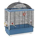 Ferplast Jaula para Canarios y Otros pequeños pájaros exóticos PALLADIO 4 con Accesorios y comederos giratorios, Alambre Pintado Negro con Marco y cubeta de plástico Azul Marino, 59 x 33 x h 69 cm