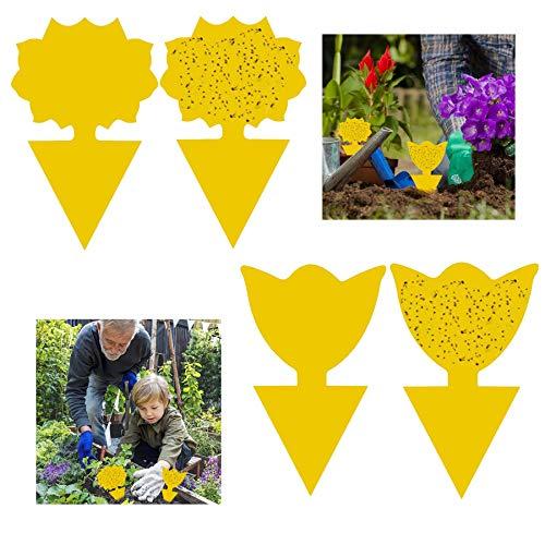 GeekerChip 50Pcs Gelbtafeln,gelbsticker,steckbare Fliegenfalle Gelbtafeln Gelbsticker,fliegenfalle pflanzefür Pflanzen Auf dem Balkon oder Im Garten