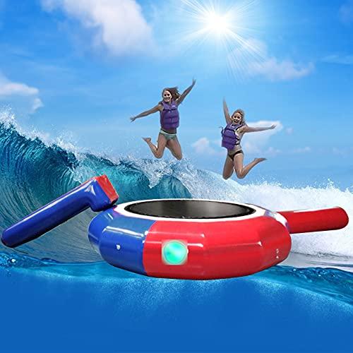 インフレータブルウォーターバウンサー、10フィートのウォーターインフレータブルトランポリン、スライドとチューブ付きの柔軟なジャンププラットフォーム、ジャンプマットバッグ