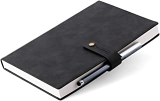 Refillable Writing Journal Faux Leather Hardcover Notebook B5 College Ruled 408 Lined Pages Lay-Flat Personal Diary With P...