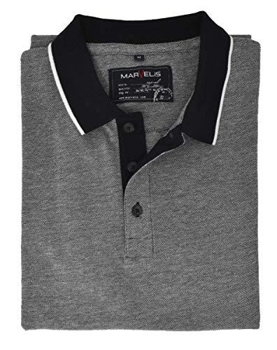 Marvelis Halbarm Poloshirt geknöpfter Kragen Pique schwarz Größe M