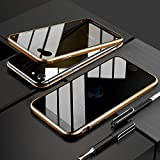 FHZXHY iPhone 6 plus/6S Plus Privacy Glass Case All-Inclusive Clear Double Sided Tempered Glass Magnet Absorption Metal Bumper Frame Protective Case for iPhone 6 plus/6S Plus Gold
