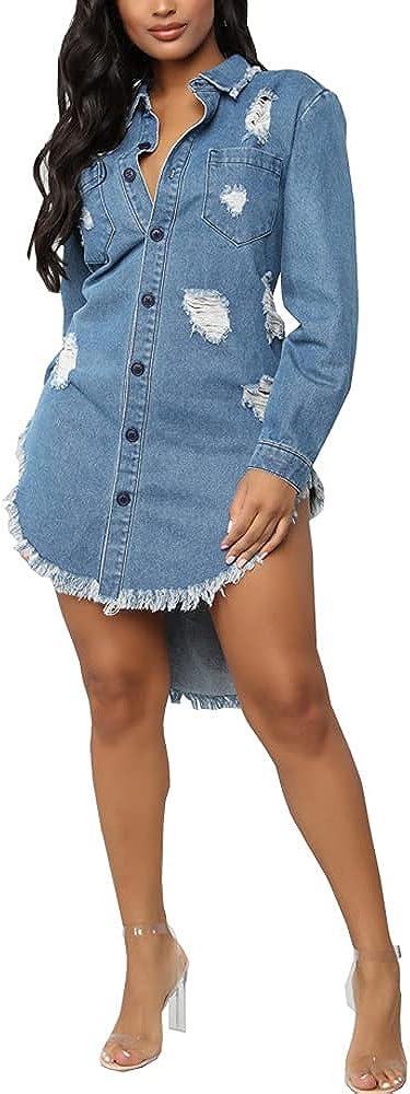 Women's Denim Jackets Distressed Ripped Fray Hem Tassels Long Sleeve Classic Oversized Boyfriend Plus Size Jean Coats
