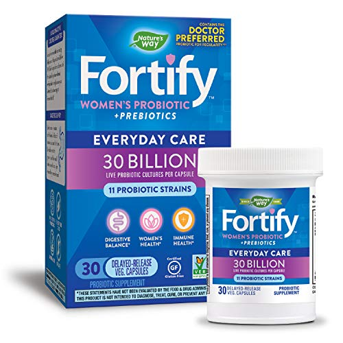 Nature's Way Fortify Women's Probiotic, 30 Billion Live Cultures, 11 Strains, Prebiotic, 30 Capsules