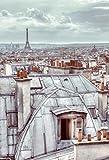 empireposter Paris Dächer Foto-Tapete 2-teilig - Fototapete Wallpaper 232x158cm. Beigelegt sind eine Packung Kleber und eine Klebeanleitung.