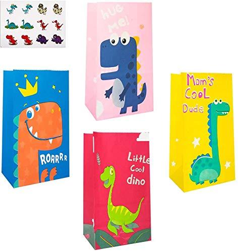 HIQE-FL 40 Bolsa de Dulces de Dinosaurio con Pegatina Dinosaurio,Bolsas de Papel de Caramelos,Bolsa de Regalo de Papel para Niños Suministros Fiesta de Cumpleaños