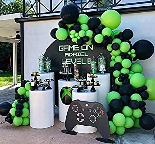 100Pcs Balloon Garland & Arch Kit for Video Game Party-100pcs Black Green Latex Balloons, 16.5 Feets Arch Balloon Strip fo...