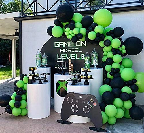 100Pcs Balloon Garland & Arch Kit for Video Game Party-100pcs Black Green Latex Balloons, 16.5 Feets Arch Balloon Strip for Gaming Party Gamer Birthday Decorations