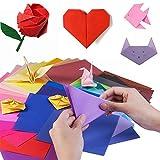 YIQI 400 Hojas de Doble Cara de Papel para Origami en 10 Colores Surtidos con 4 tamaños Distintos (100 Hojas 20 x 20cm, 100 Hojas 15x15cm, 100 Hojas 10x10cm, 100 Hojas 7x7cm) y 100 Ojos Animados