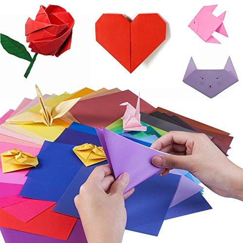 YIQI 400 Hojas de Doble Cara de Papel para Origami en 10 Colores Surtidos con 4...