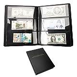 Librao - Álbum de billetes, 60 bolsillos, para coleccionar dinero, de piel, para billetes, coleccionistas, álbum de monedas, almacenamiento de dinero en efectivo