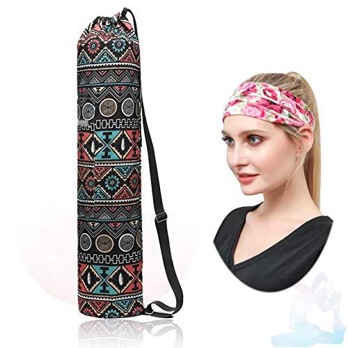 Bolsa para esterilla de yoga, portátil, multifunción, bolsa para esterilla de yoga, extra ancha, correa ajustable para el hombro, transportadores para mujeres y hombres, bolsas de yoga de lona