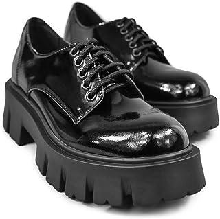 Altercore Deidra Zapatos Mujer Plataforma Negro Charol Vegan Tacón