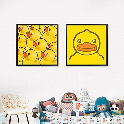Empty SJLAQ Gelbe Ente Bild Wandkunst dekorative Malerei Kinderzimmer Leinwand Poster Cartoon Tierdruck-50x50cmx2 Stück kein Rahmen