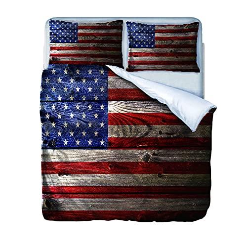AOUAURO Set Copripiumino Singolo Bandiera Americana Stampa Fotografica Set di Biancheria da Letto in Poliestere con Chiusura a Cerniera 1 Copripiumino 140x200 e 2 Federe per Bambini Ragazzo Ragazza
