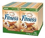 Cereales Nestlé Fitness con chocolate con leche - Copos de trigo integral, arroz y avena integral tostados - 16 paquetes de cereales de 375g