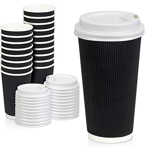 50 Pack Disposable Hot Cups with Lids - 20 oz Black Double Wall Insulated Ripple Sleeves Coffee Cups with White Dome Lid - Kraft Paper Cup for To Go Chocolate Tea and Cocoa Drinks
