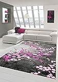 Traum Alfombra diseñador Alfombra Moderna Alfombra de la Sala Estampado de Flores Gris Rosado Blanco Rosado púrpura Größe 60x110 cm