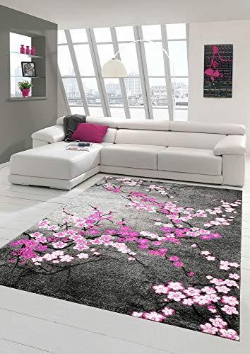 Designer Tapis Contemporain Tapis du Salon Motif Floral Gris Violet Rose Blanc Rose Größe 200 x 290 cm