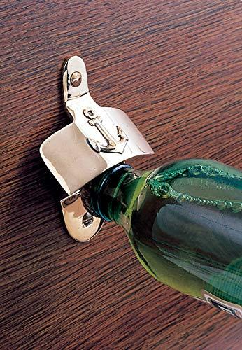 Flaschenöffner mit Anker aus Messing für Wandmontage