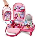 Maletin Maquillaje Niñas Estuche Belleza Joyería Peluqueria Kit 37 pcs Juguete Accesorios Regalo para Princesa Niñas Infantil 3 4 5 Años