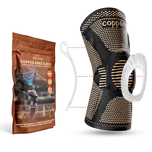 Copper Knee Brace for knee pain Compression knee Sleeve with Side Spring Stabilizer & Patella Gel, knee Pad, Support for Fitness, Sports, Arthritis Pain, Injury Recovery, Men & Women, Single (Lg)