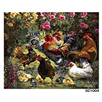 LovetheFamily 数字油絵 数字キット塗り絵 手塗り DIY絵 デジタル油絵 鶏家族 40x50cm ホーム オフィス装飾
