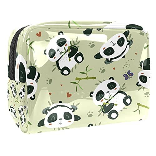 Borsa Cosmetica Da Viaggio Bambù Panda Borsa Di Trucco Portatile Borsa Da Toilett Cosmetici Organizzatore Per Donna Ragazza 18.5x7.5x13cm