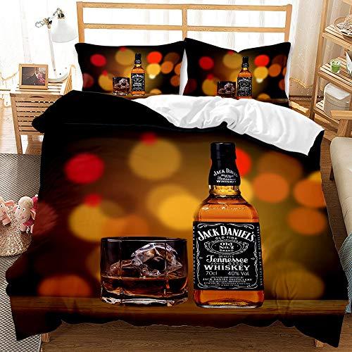 MXSS Juego de Cama con Funda nórdica con Tema de Whisky, con Funda nórdica de Microfibra + 1/2 Funda de Almohada, Ideal para Uso doméstico (Whisky 7,150 x 200 cm-Cama 90)