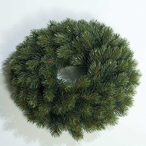 mucplants Künstlicher Edeltannenkranz Grün Tannenkranz 34 cm Rund Gebunden Künstlicher Kranz