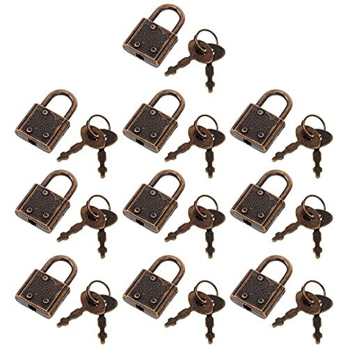 Angoily 10 Piezas Mini Candado Cerraduras de Equipaje con Llaves de Caja de Joyería Vintage Muebles Maleta Candados Retro Viscosa
