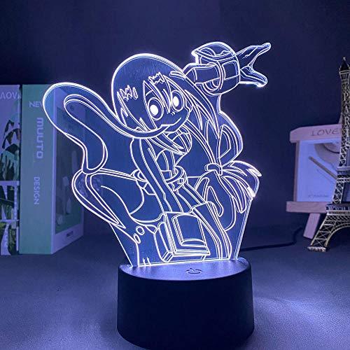 Lámpara De Ilusión 3D Luz De Noche Led Anime My Hero Academia Asui Habitación Infantil Decoración De Dormitorio Regalo De Cumpleaños Para Niños