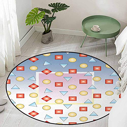 Round Floor Mat Home Decoration Supplies Big Square on Background of Several Geometric Shapes Angle Lines Graphic Artwork Diameter 48 inch Outdoor Rugs for patios