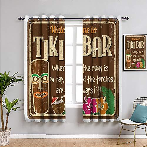 VICWOWONE Tiki Bar - Cortinas opacas para ventana, 160 cm de largo envejecido, signo de tiki bar con cita inspiradora, impresión de viajes de ocio, uso repetible de 52 x 63 pulgadas, multicolor
