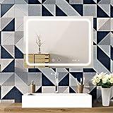 SOGOO Miroir Salle de Bain LED 80x60cm, Miroir Anti-Buée + Interrupteur Tactile + Horloge Numérique, Lumière Blanc 6500K
