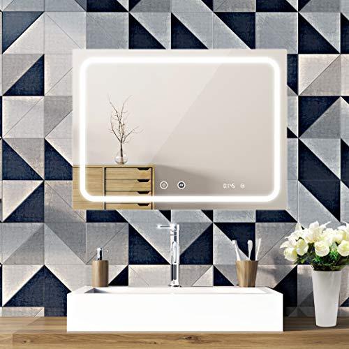 SOGOO® Miroir Salle de Bain LED 80x60cm avec Éclairage Intégré, Miroir Anti-Buée + Interrupteur Tactile + Horloge, Lumière Blanc Froid(6500K)