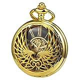 TREEWETO Reloj de bolsillo mecánico para hombre y mujer, diseño de águila, doble hueco, número romano, con caja de regalo
