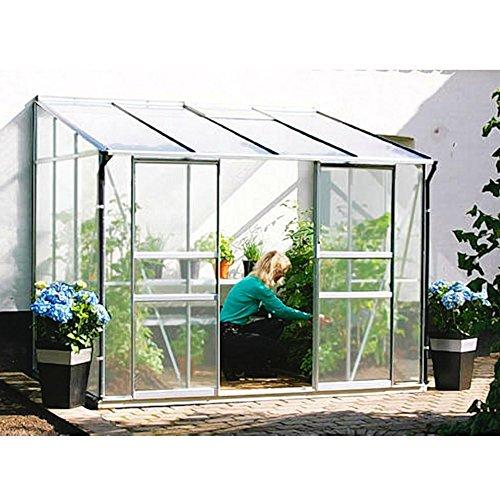Ida 5200 Alu-Anlehngewächshaus HKP 6 mm Balkon-Gewächshaus 5,2 m² mit Fundament mit 1 Dachfenster