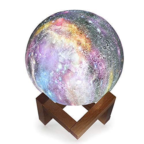 GUOYIHUA 3D Vollmondlampe mit Ständer, LED Lunar Moon Nachtlicht Kreative Tischlampen Gemalt Sterne Nachtlicht 7 Farben Touch Kreative Wohnkultur und Festival