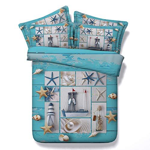 Sticker superb Romantique Bleu Océan Plage Pays Housse de Couette pour Dame Homme, 2 Personnes Coton Luxe 3 Pièces Parures de Lit, Hiver été Printemps (Étoile de mer, 220_x_240_cm)