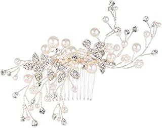 GT Wedding Bridal Hair Comb with Crystal Bead Simulated Pearl Handmade Filigree Hair Accessories for Women Sliver