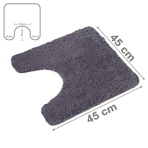 PANA Flauschiger WC Vorleger MIT Ausschnitt | Badematte in versch. Farben und Größen | Badteppich aus weichen Mikrofasern - rutschfest & waschbar 45 x 45 cm