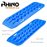 Rhino Par de 4 x 4 Rampas de recuperación de 10 t de tracción Fuera de Carretera, tableros de Puente, Arena/Nieve (Azul)